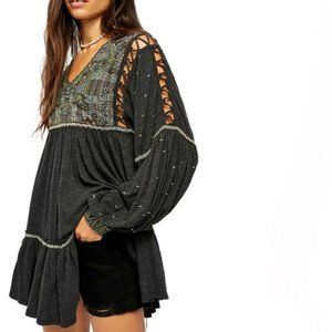 Free People Much Love Embroidered Cutout Tunic NWT